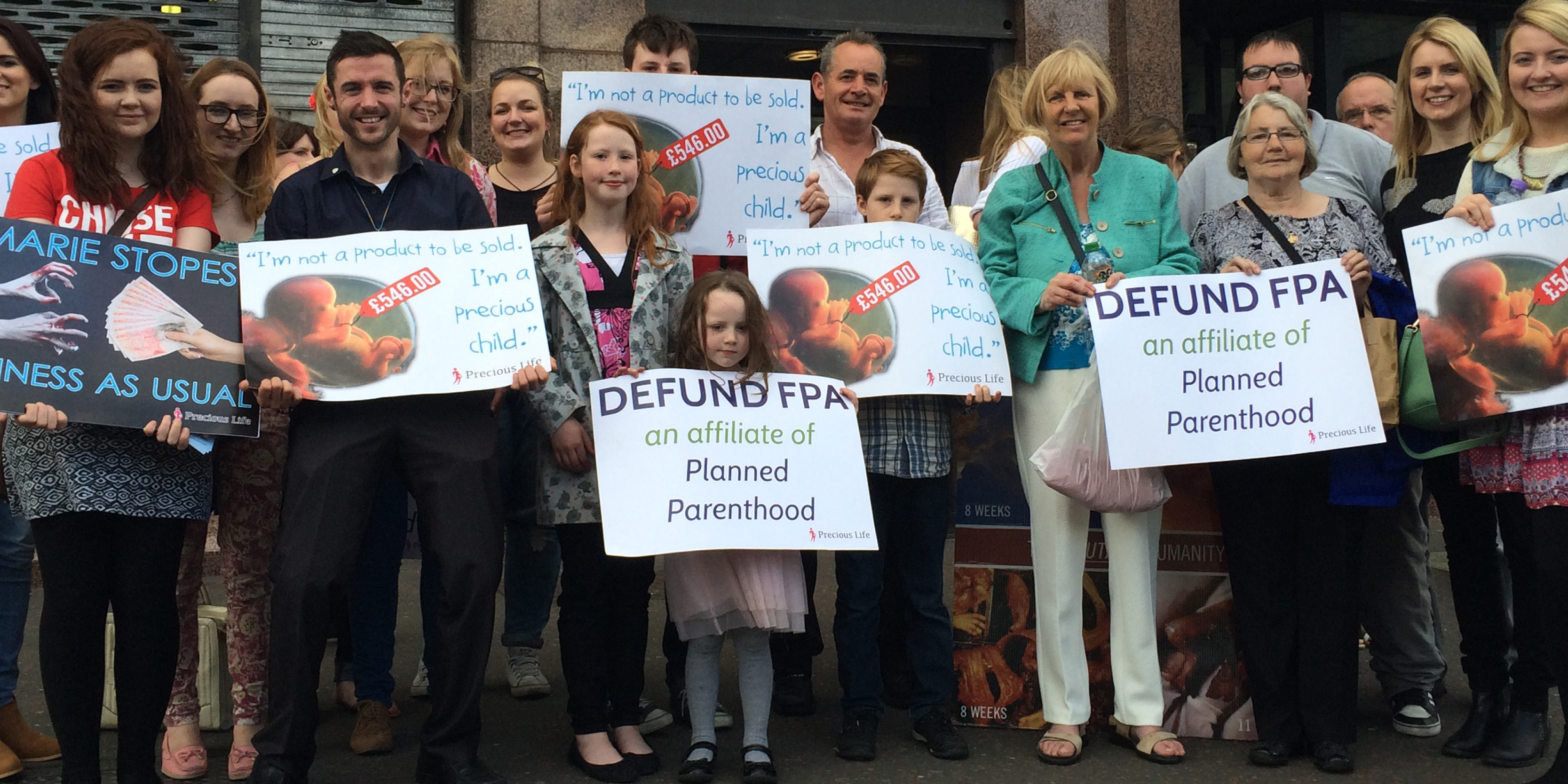 Precious Life Closes Marie Stopes at First #DefundPP Protest!!